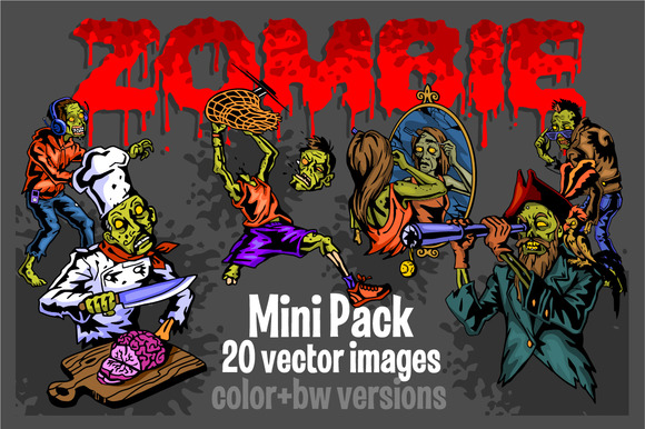 Zombie 20 Vector Images Color Bw