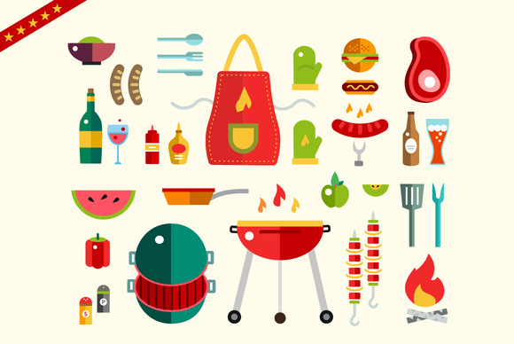 Barbecue And Food Objects Set