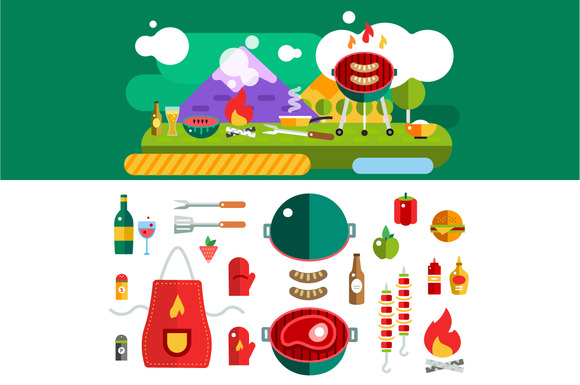 Barbecue And Food Outdoor Vector