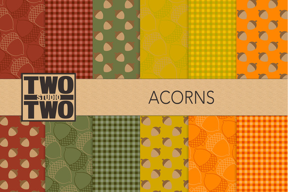FallPatterns Acorns And Gingham