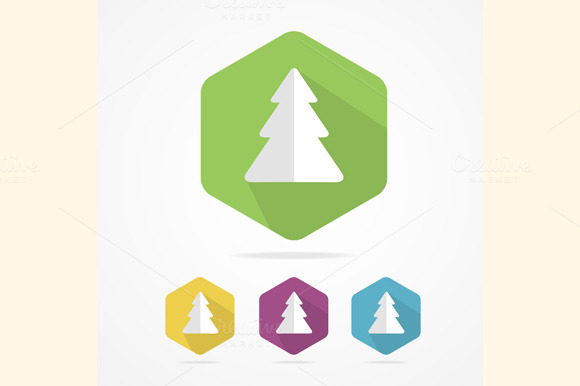 Christmas Tree Icon Set In Flat