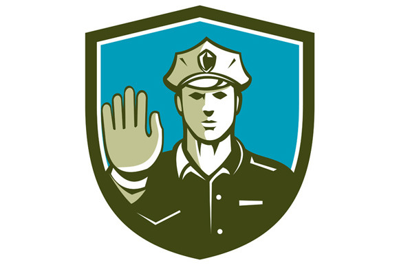 Traffic Policeman Hand Stop Sign Shi
