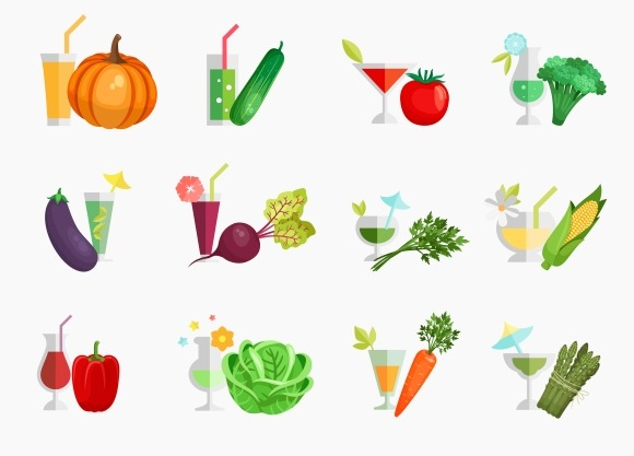 Vegetable Juice Flat Icons