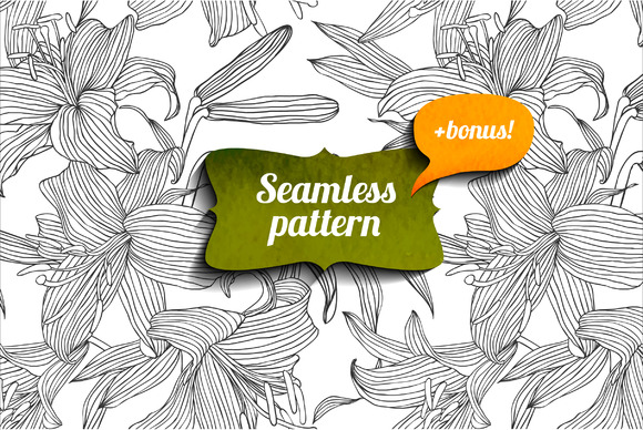 Lily Seamless Pattern Bonus