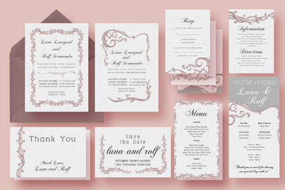 Vine Wedding Invitation Suite
