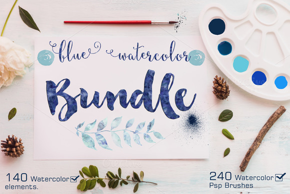 Watercolor Bundle 240 Ps Brushes