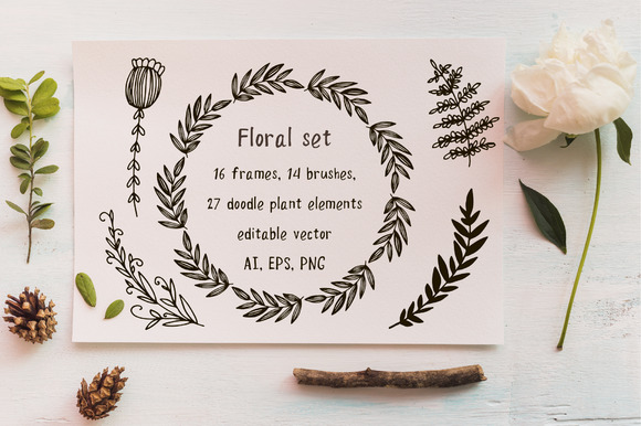 Floral Set Frames And AI Brushes