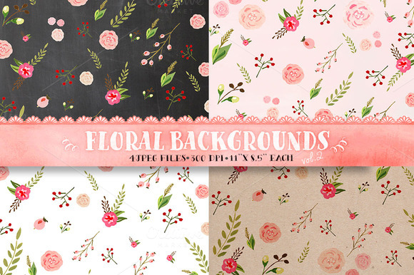 Floral Patterns Watercolor Paper