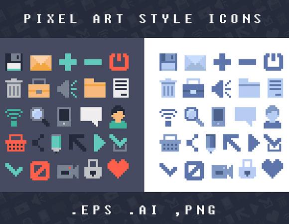 Pixel Art Style Vector Icons