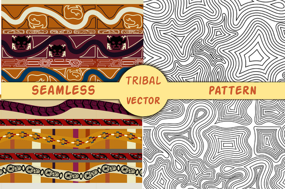 Set Ethnic Seamless Texture Vector