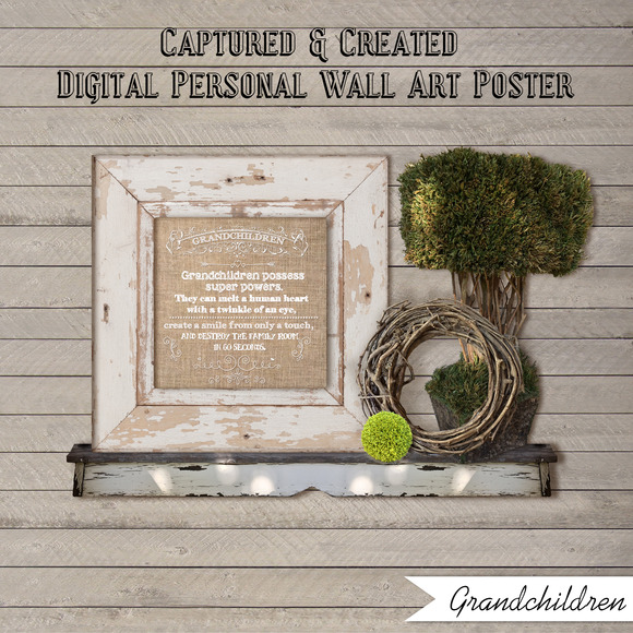 Wall Art Poster-Burlap-Grandchildren