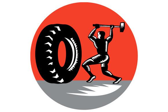 Tire Sledgehammer Workout Woodcut