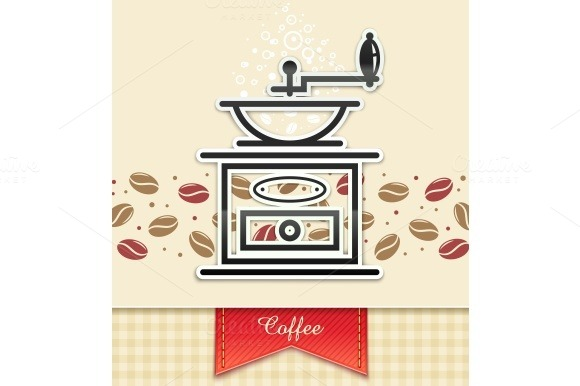 Coffee Grinder With Coffee Food Background