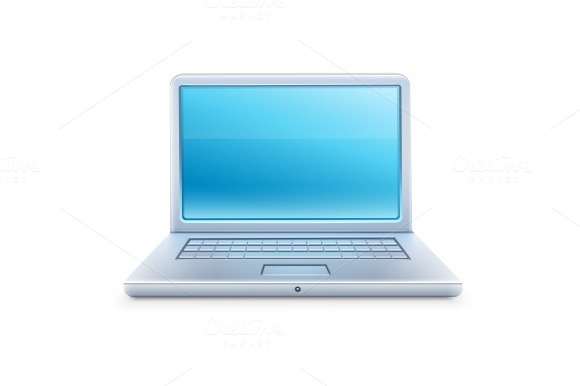 Laptop Icon With Blue Empty Screen