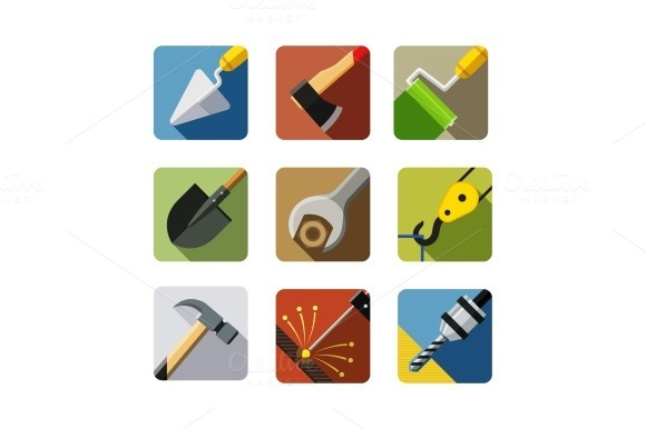 Construction Tools Set Of Vector Icons