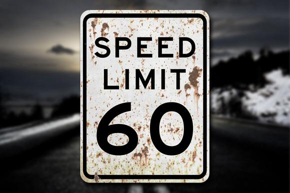 Grunge Speed Limit 60 Sign Decal
