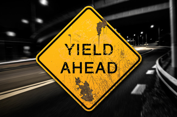 Rusted Yield Ahead Sign Decal