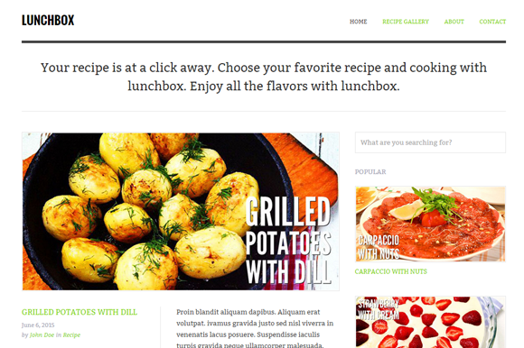 Lunchbox Food Blog Template