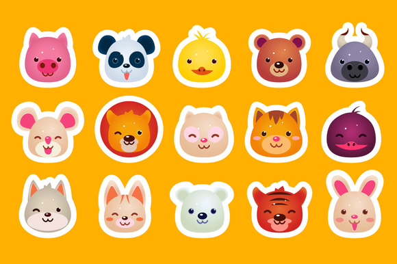 Animal Cute Faces Set