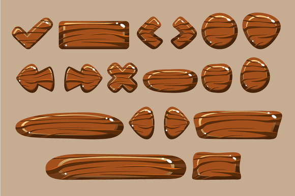 Cartoon Wooden Buttons