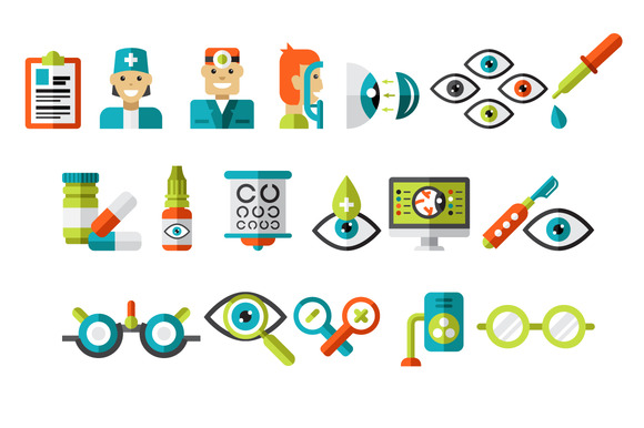 Optical And Ophthalmology Icons
