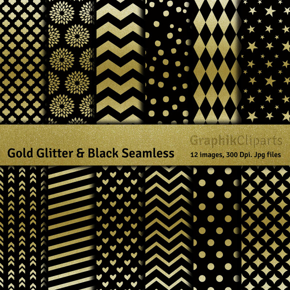 Gold Glitter Black Digital Papers
