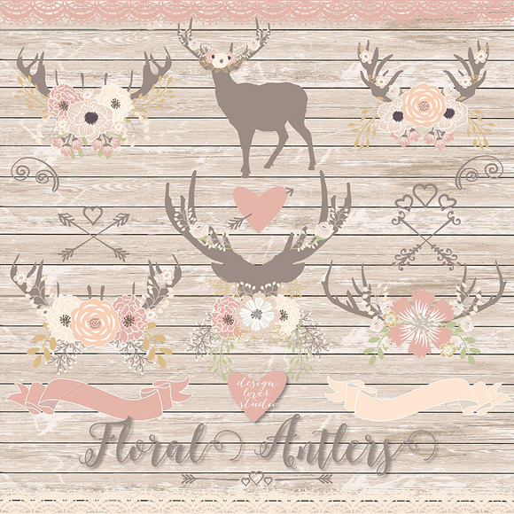 Vector Deer Floral Clipart