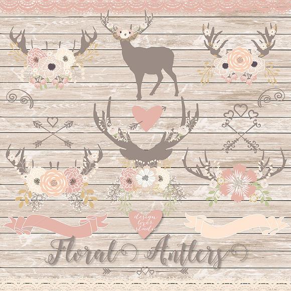 Vector Deer Floral Clipart
