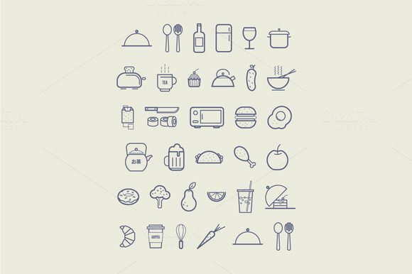 Kitchen Icons For Cafe Menu