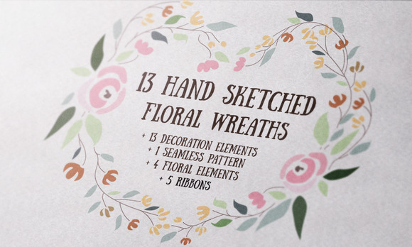 13 Hand Sketched Floral Wreaths