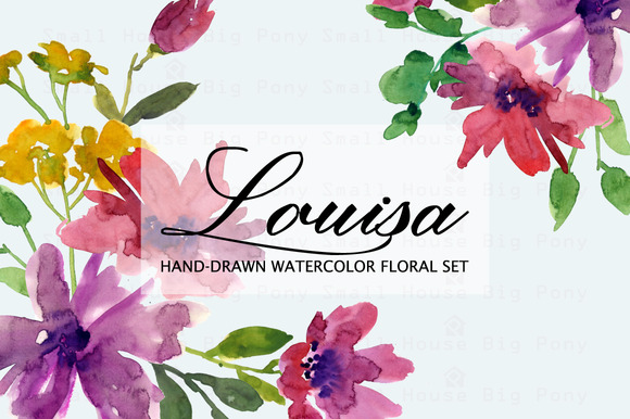 Louisa- Watercolor Clip Art Set