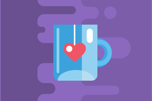 Blue Cup Of Tea Vector Icon Drink