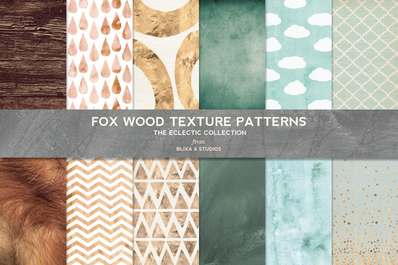 Fox Wood Textured Digital Patterns