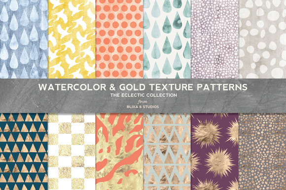Watercolor Gold Texture Patterns