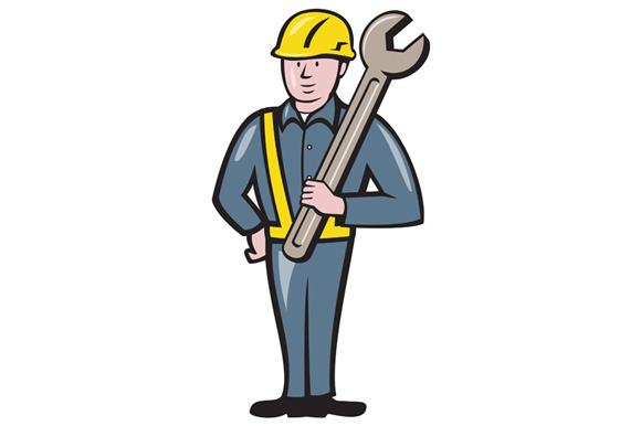 Construction Worker Spanner Isolated