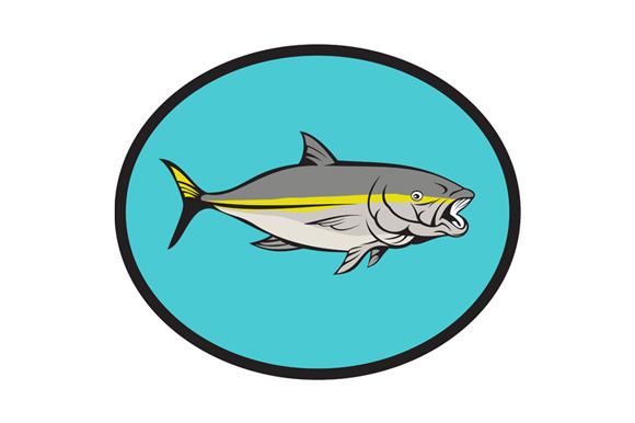 Yellowtail Kingfish Oval Cartoon
