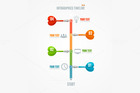 Vector Timeline Infographic And Dart