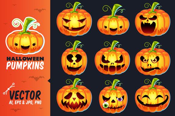 Halloween Pumpkins Vector Set