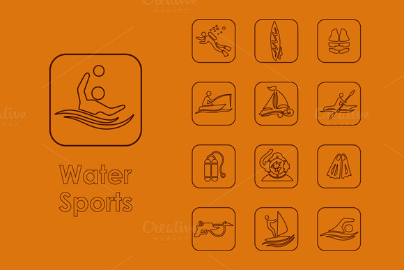 16 Water Sports Simple Icons