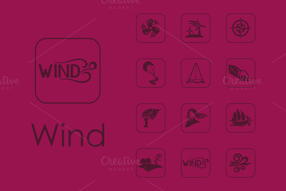 16 Wind Simple Icons