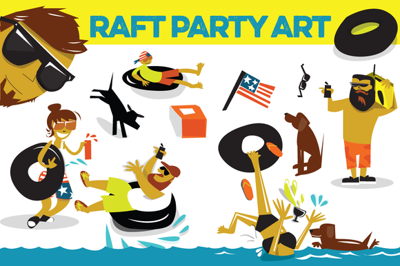 Raft Party Vector Illustrations