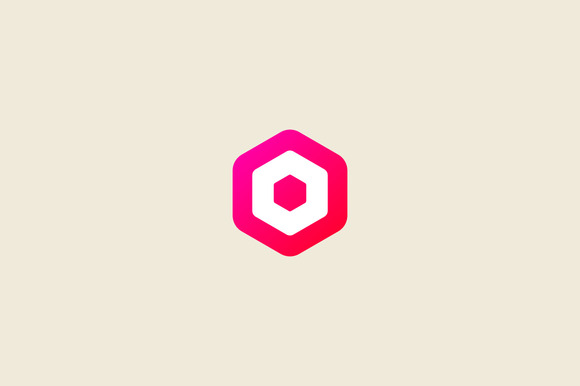 Abstract Letter O Hexagon Logo