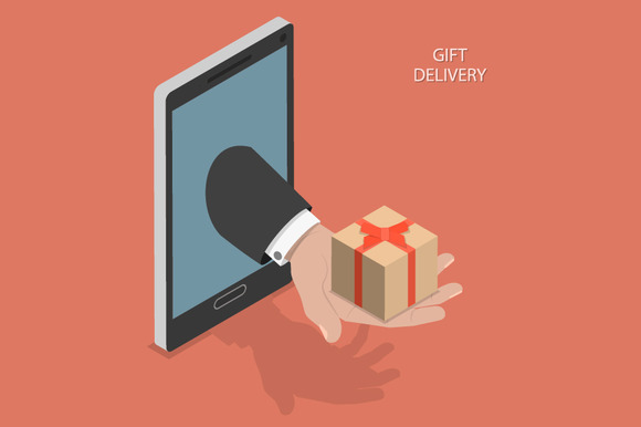 Gift Delivery Isometric Concept