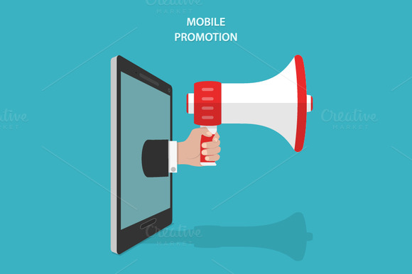Mobile Promotion Isometric Concept