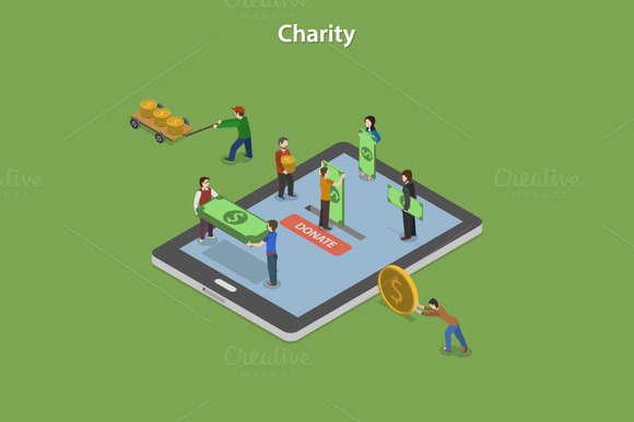 Charity Flat Isometric Concept