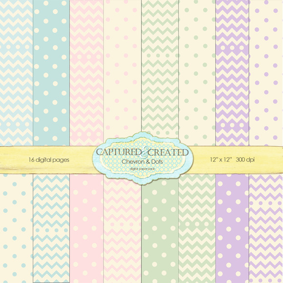 Chevron And Dots Pastel Paper Set-16