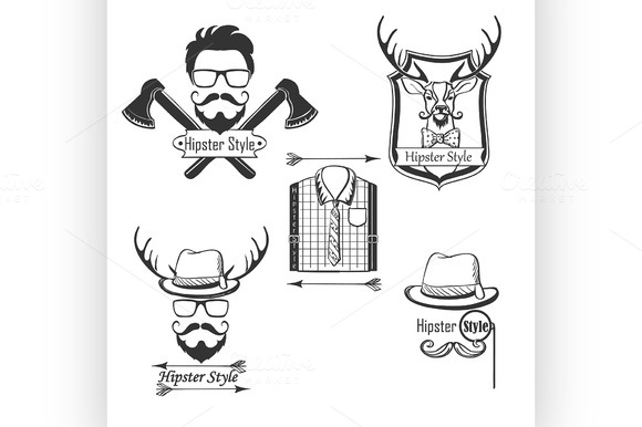 Set Of Hipster Style Logos Badges