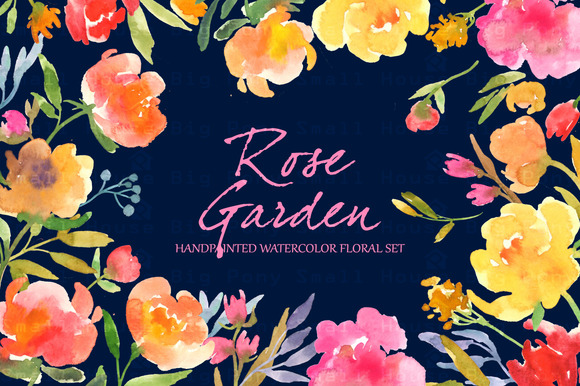 Rose Garden- Watercolor Clip Art