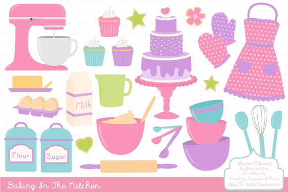 Girls Baking Clipart Vectors