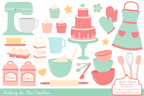 Mint Coral Baking Clipart